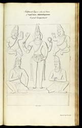 'Sculptured Figure within the Cave of Capul Iswar at Mahabalipooram Central Compartment. Copied by J. Gould.'